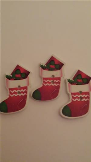 Merry Christmas Socks Wooden buttons